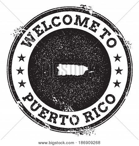 Vintage Passport Welcome Stamp With Puerto Rico Map. Grunge Rubber Stamp With Welcome To Puerto Rico