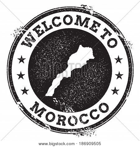 Vintage Passport Welcome Stamp With Morocco Map. Grunge Rubber Stamp With Welcome To Morocco Text, V