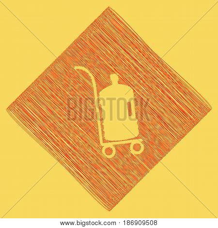 Plastic bottle silhouette with water. Big bottle of water on track. Vector. Red scribble icon obtained as a result of subtraction rhomb and path. Royal yellow background.