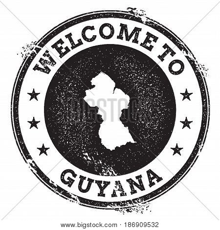 Vintage Passport Welcome Stamp With Guyana Map. Grunge Rubber Stamp With Welcome To Guyana Text, Vec