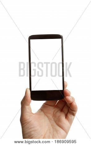 hand holding and showing smartphone with blank screen. Isolated on white background