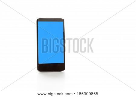 showing smartphone with blue screen. Isolated on white background