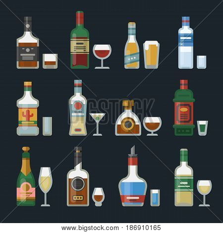 Alcohol strong drinks in bottles and cocktail glasses whiskey cognac brandy beer champagne wine vector illustration. Cool cold alcoholic drawing liquor beverage.