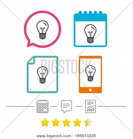 Light bulb icon. Lamp E27 screw socket symbol. Illumination sign. Calendar, chat speech bubble and report linear icons. Star vote ranking. Vector