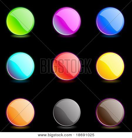 Set of editable glossy multicolored web buttons