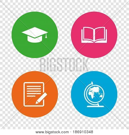 Pencil with document and open book icons. Graduation cap and geography globe symbols. Learn signs. Round buttons on transparent background. Vector