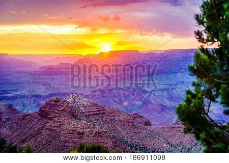 Grand Canyon National Park Sunset Desert View Watchtower Arizona USA