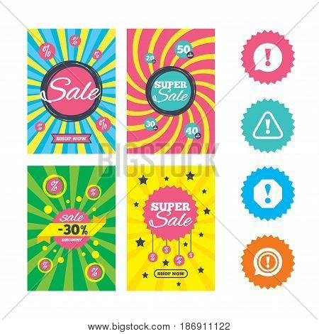 Web banners and sale posters. Attention icons. Exclamation speech bubble symbols. Caution signs. Special offer and discount tags. Vector
