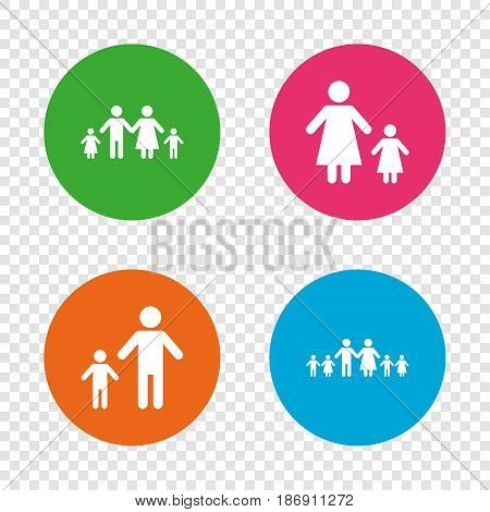 Large family with children icon. Parents and kids symbols. One-parent family signs. Mother and father divorce. Round buttons on transparent background. Vector