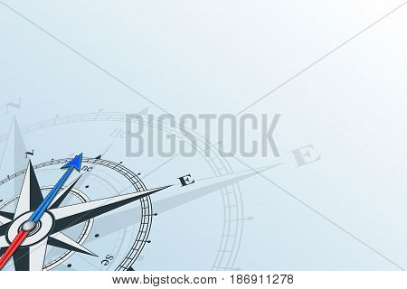 Compass northeast. Compass with wind rose, the arrow points to the northeast. Compass on a blue background. Compass illustrations can be used as background