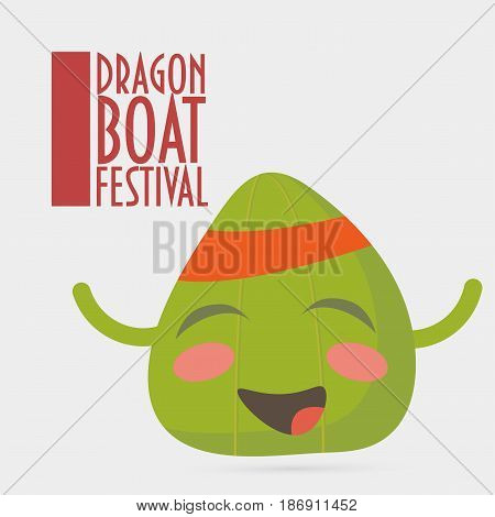 Vector illustration for Dragon Boat Festival also known as The Tuen Ng or Duanwu: cute chinese rice dumpling character isolated. Text: Dragon Boat Festival. Traditional chinese zongzi, or simply zong.