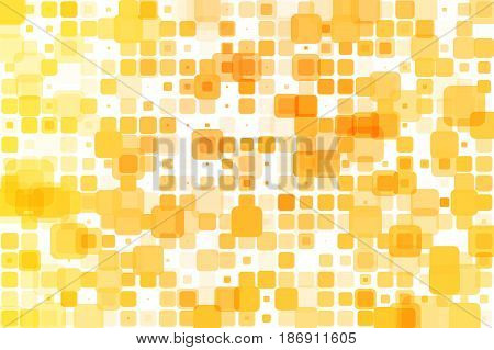 Yellow shades occasional opacity vector square tiles mosaic over white background