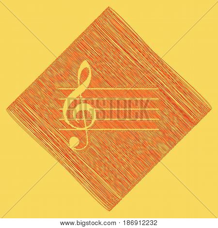 Music violin clef sign. G-clef. Vector. Red scribble icon obtained as a result of subtraction rhomb and path. Royal yellow background.