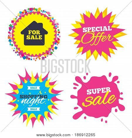 Sale splash banner, special offer star. For sale sign icon. Real estate selling. Shopping night star label. Vector