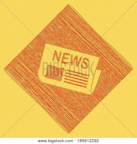Newspaper sign. Vector. Red scribble icon obtained as a result of subtraction rhomb and path. Royal yellow background.