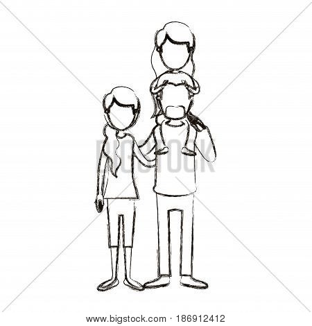 blurred silhouette caricature faceless family with mother and father with moustache and girl on his back vector illustration
