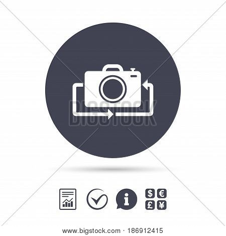 Front photo camera sign icon. Digital photo camera symbol. Change front to back. Report document, information and check tick icons. Currency exchange. Vector