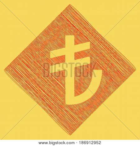 Turkiey Lira sign. Vector. Red scribble icon obtained as a result of subtraction rhomb and path. Royal yellow background.