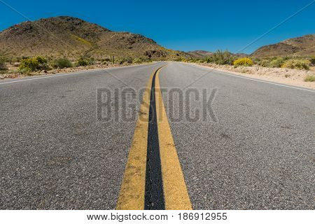 Winding Road Through Desert Terrain in southern California
