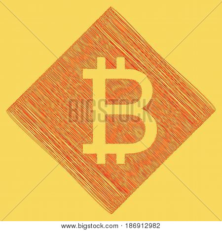 Bitcoin sign. Vector. Red scribble icon obtained as a result of subtraction rhomb and path. Royal yellow background.