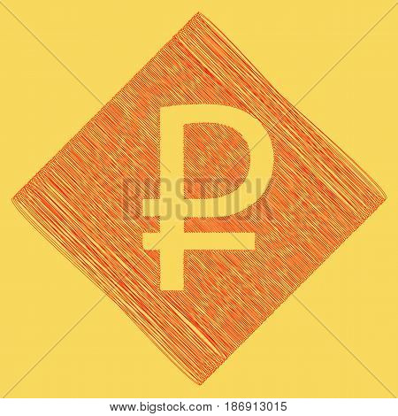 Ruble sign. Vector. Red scribble icon obtained as a result of subtraction rhomb and path. Royal yellow background.