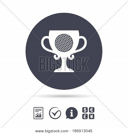 Golf ball sign icon. Sport symbol. Winner award cup. Report document, information and check tick icons. Currency exchange. Vector