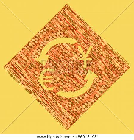 Currency exchange sign. Dollar and Euro. Vector. Red scribble icon obtained as a result of subtraction rhomb and path. Royal yellow background.