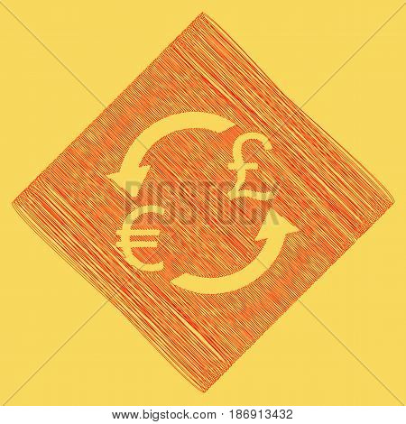 Currency exchange sign. Euro and UK Pound. Vector. Red scribble icon obtained as a result of subtraction rhomb and path. Royal yellow background.