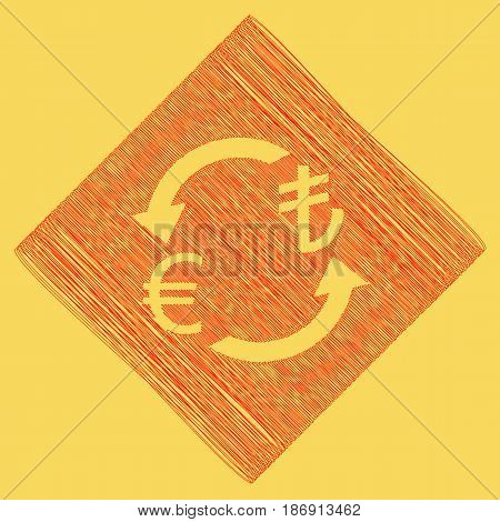 Currency exchange sign. Euro and Turkey Lira. Vector. Red scribble icon obtained as a result of subtraction rhomb and path. Royal yellow background.