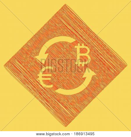Currency exchange sign. Euro and Bitcoin. Vector. Red scribble icon obtained as a result of subtraction rhomb and path. Royal yellow background.
