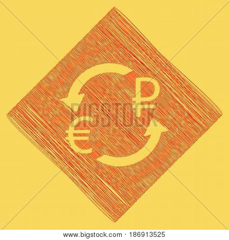 Currency exchange sign. Euro and Russia Ruble. Vector. Red scribble icon obtained as a result of subtraction rhomb and path. Royal yellow background.