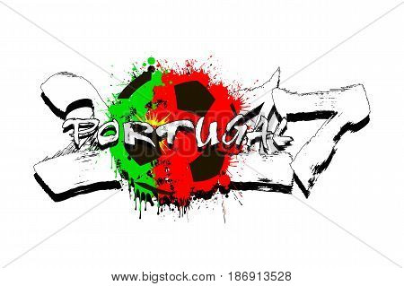 Number 2017 And Soccer Ball Painted In The Colors Of The Portuga