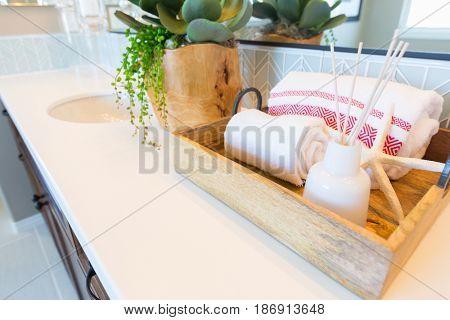 New Modern Bathroom with Tile Backsplash Decorations.