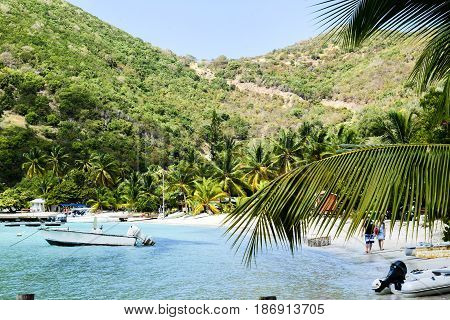 Small boats in quiet cove on Tortola, BVI