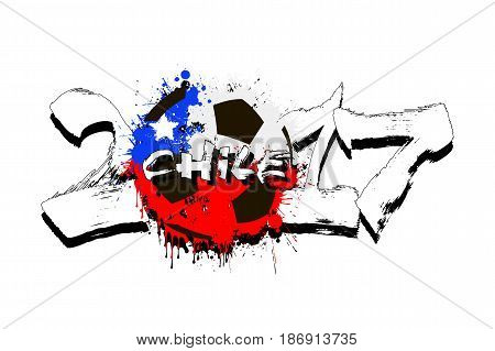 Number 2017 And Soccer Ball Painted In The Colors Of The Chile F