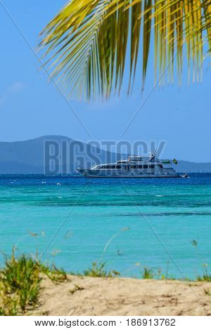 Luxury yacht at anchor offshore of Jost Van Dyke, BVI