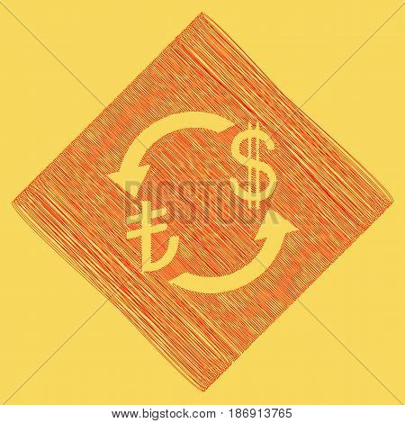 Currency exchange sign. Turkey Lira and US Dollar. Vector. Red scribble icon obtained as a result of subtraction rhomb and path. Royal yellow background.