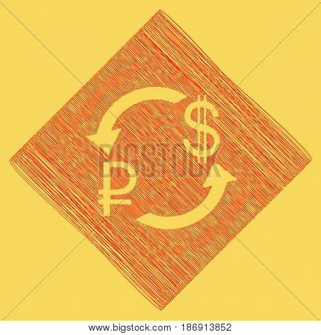Currency exchange sign. Ruble and US Dollar. Vector. Red scribble icon obtained as a result of subtraction rhomb and path. Royal yellow background.