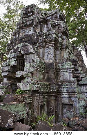 A tower in Ta Prohm Temple Cambodia.
