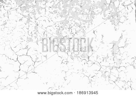 Old cracked paint background. Grunge black and white vector texture template for overlay artwork.