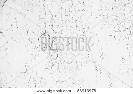 Weathered cracked paint background. Grunge black and white vector texture template for overlay artwork.