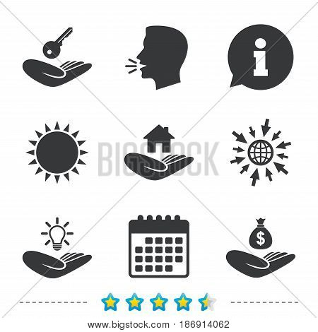 Helping hands icons. Financial money savings insurance symbol. Home house or real estate and lamp, key signs. Information, go to web and calendar icons. Sun and loud speak symbol. Vector