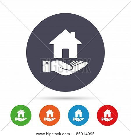 Home and hand sign icon. Palm holds house symbol. Round colourful buttons with flat icons. Vector