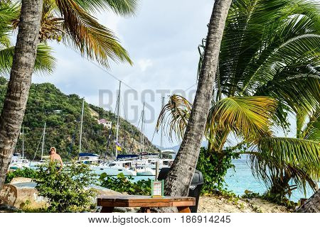 Caribbean beach scene, Jost Van Dyke, BVI