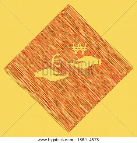 Currency exchange from hand to hand. Euro and Won. Vector. Red scribble icon obtained as a result of subtraction rhomb and path. Royal yellow background.