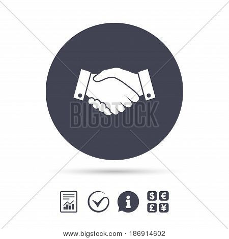 Handshake sign icon. Successful business symbol. Report document, information and check tick icons. Currency exchange. Vector