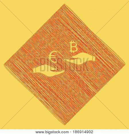 Currency exchange from hand to hand. Euro an Bitcoin. Vector. Red scribble icon obtained as a result of subtraction rhomb and path. Royal yellow background.