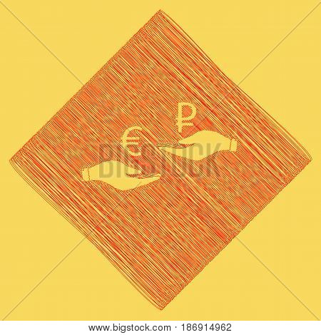 Currency exchange from hand to hand. Euro and Ruble. Vector. Red scribble icon obtained as a result of subtraction rhomb and path. Royal yellow background.