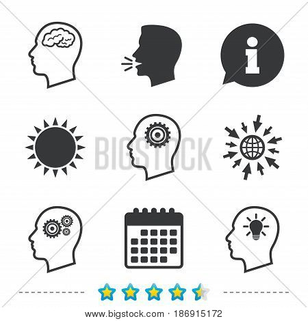 Head with brain and idea lamp bulb icons. Male human think symbols. Cogwheel gears signs. Information, go to web and calendar icons. Sun and loud speak symbol. Vector