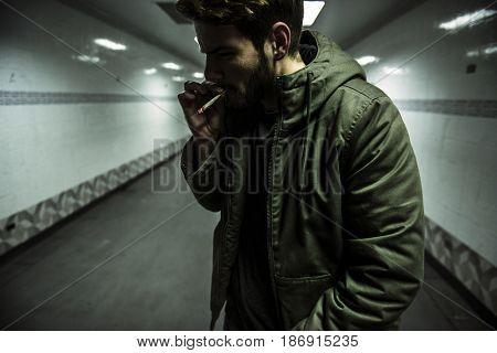 Homeless Adult Man Smoking Cigarette Addiction